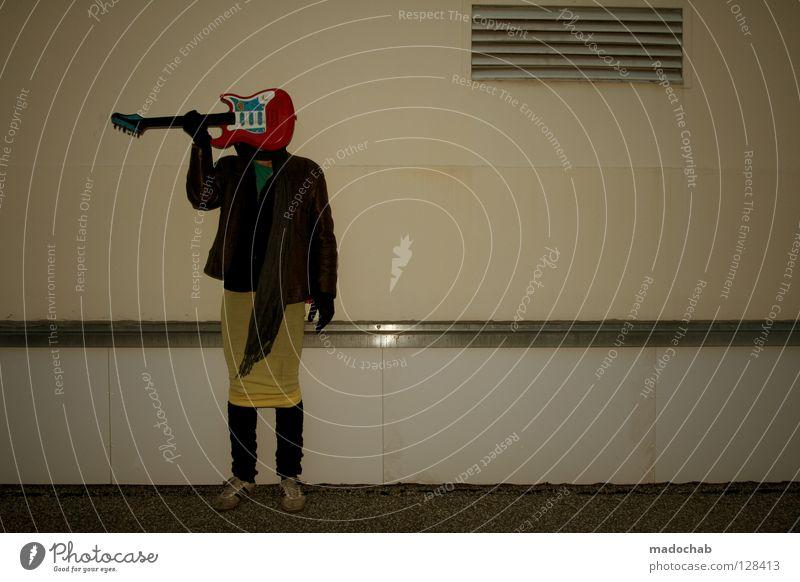 DER MIT DEM ROCK ROCKT Mann Freude Farbe Stil Musik rosa maskulin modern Lifestyle retro Kommunizieren violett Spielzeug Rockmusik verstecken türkis