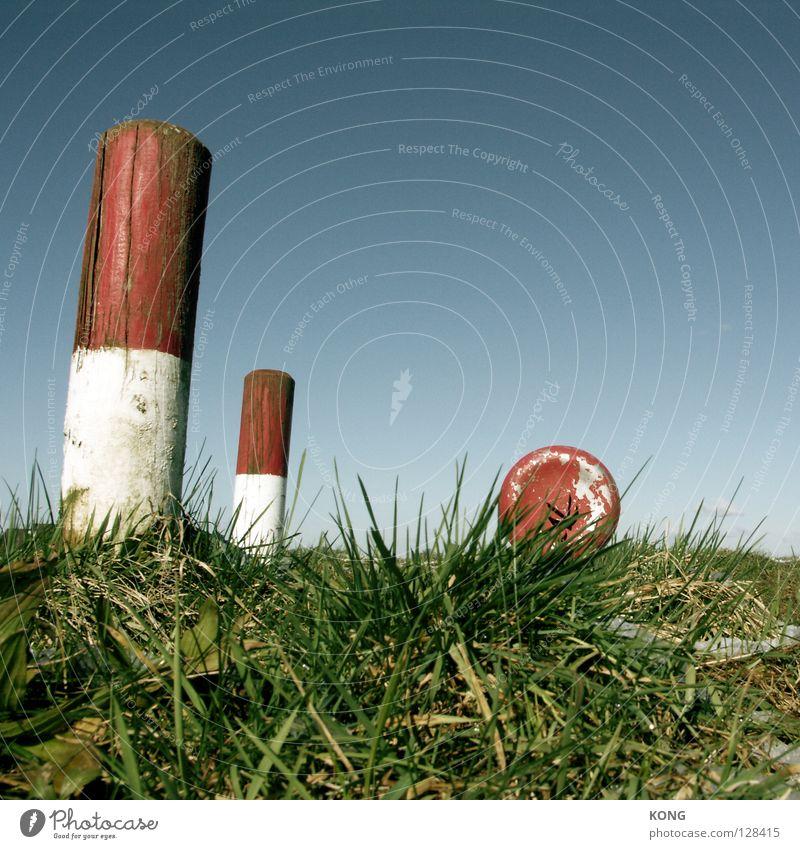 try to hide Himmel weiß blau rot Wiese Gras Brand Industrie Rasen verstecken Halm Pfosten Feuerwehr himmelblau Warnung löschen