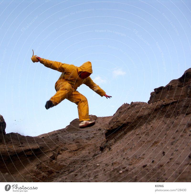 gelb™ gibt flugstunden Freude gelb Berge u. Gebirge grau springen Erde Kraft fliegen laufen Geschwindigkeit Kraft Luftverkehr trist Flügel Maske Anzug