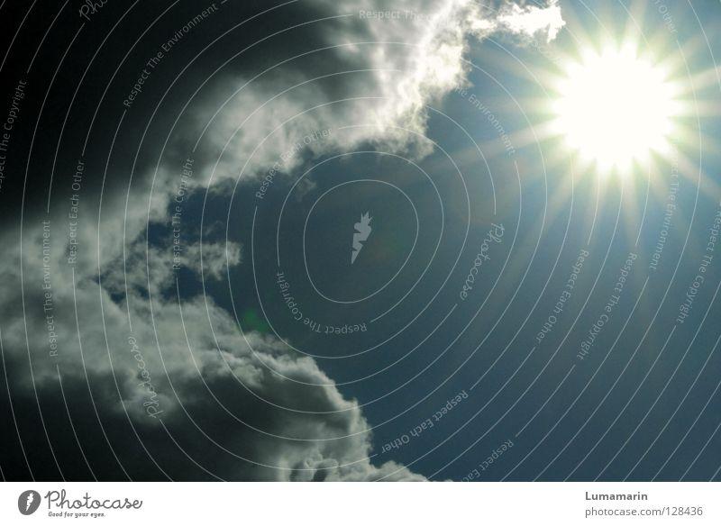 Kraft Licht Physik Wolken dunkel Sturm stark Macht elementar kämpfen anstrengen Gegenteil Kollision Optimismus Hoffnung Himmel Erfolg Sonne hell Beleuchtung