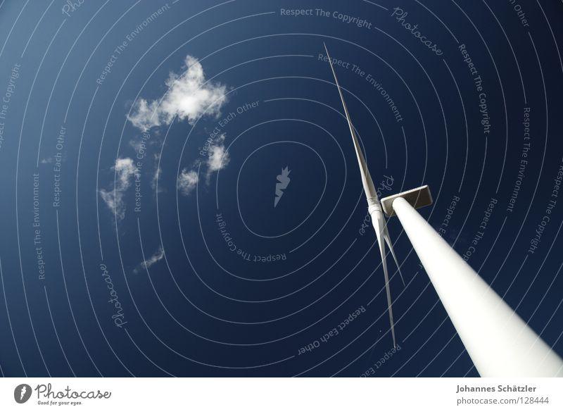 Energiegigant Himmel blau grün Sommer Wolken Landschaft Gras Kraft Feld Energiewirtschaft Elektrizität Industrie Landwirtschaft Windkraftanlage Wissenschaften