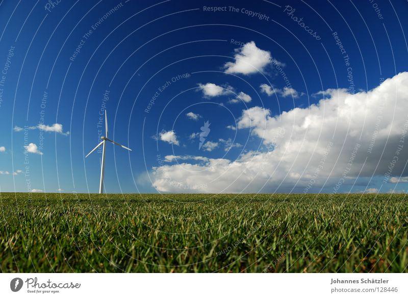 Picknick im Grünen Feld Gras Landwirtschaft Windkraftanlage Wissenschaften Elektrizität Kraft Wolken Himmel Frühling Sommer Aussaat grün Polarisation Landschaft