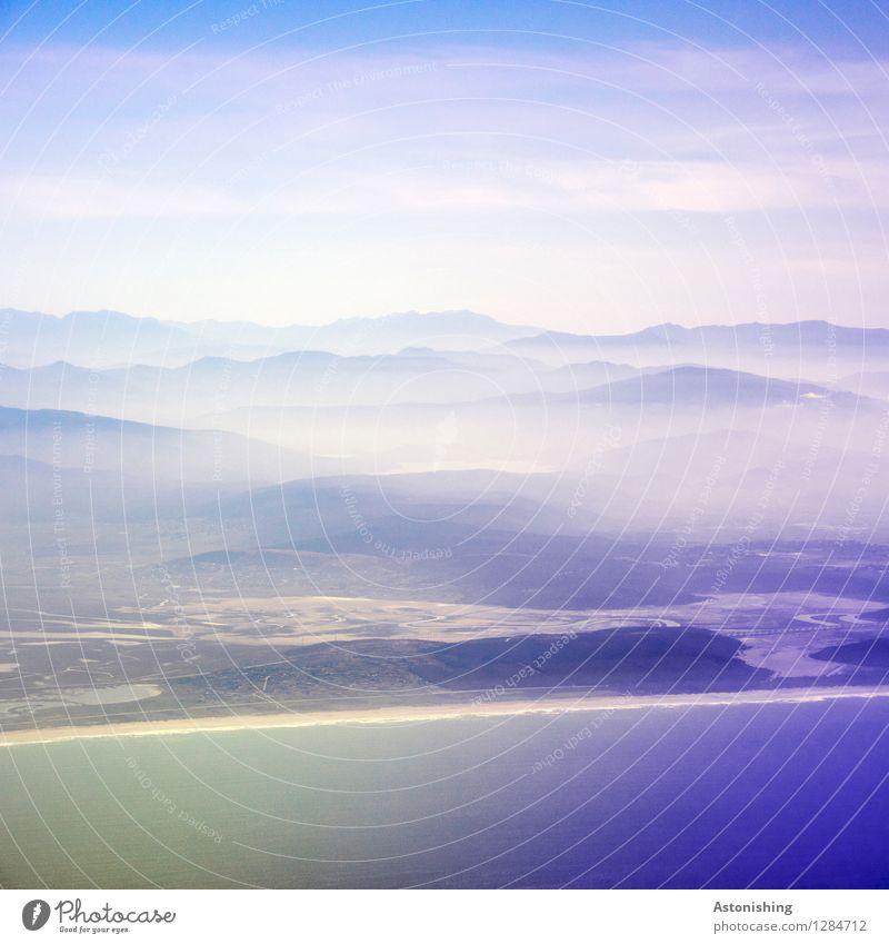 Anflug auf Marokko Umwelt Natur Landschaft Pflanze Wasser Himmel Wolken Horizont Sommer Wetter Nebel Hügel Küste Meer Atlantik Afrika dunkel groß blau weiß