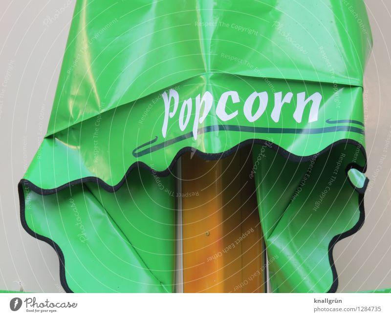 Popcorn Lebensmittel Süßwaren Ernährung Markise Schriftzeichen Kommunizieren grün weiß Gefühle Appetit & Hunger Völlerei gefräßig Kindheit Nostalgie Popkorn