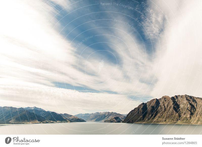 lake hawea Natur Sommer Landschaft Wolken Berge u. Gebirge See Felsen groß Schönes Wetter Gipfel Fluss Alpen Schlucht Felsspalten Fjord Neuseeland