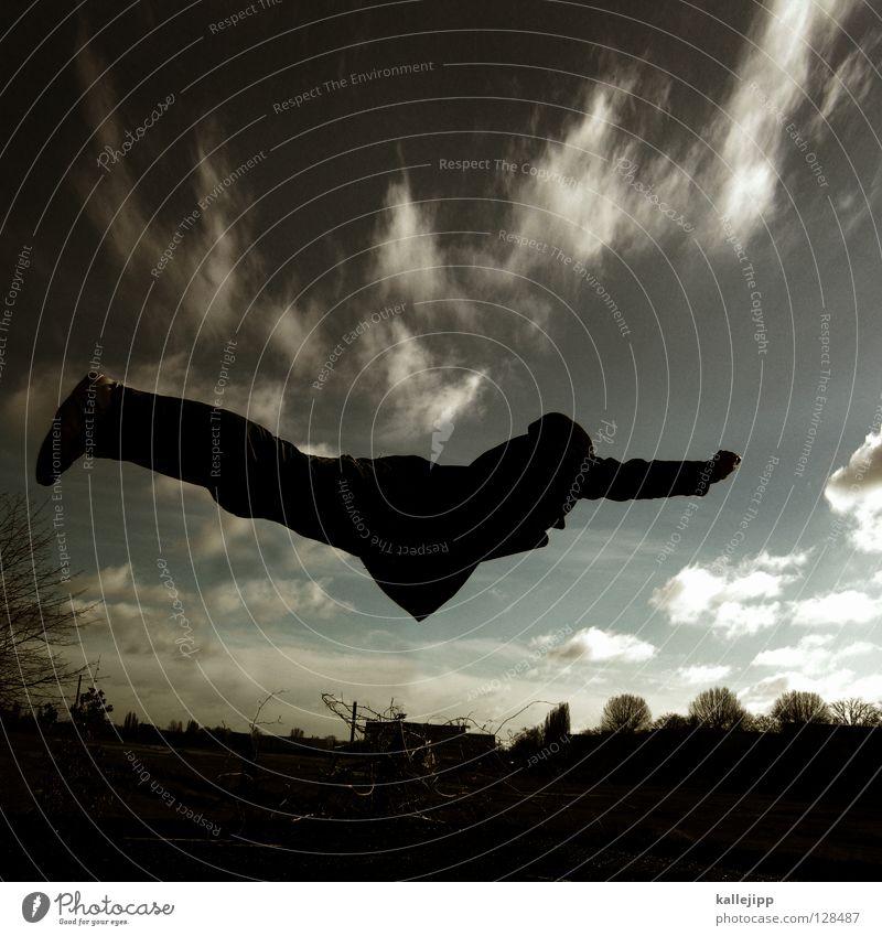 goldener reiter Mensch Himmel Mann Landschaft Wärme Beine Freiheit Erde springen Luft frei Luftverkehr verrückt Arme Beginn