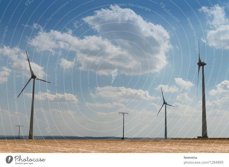Windräder Himmel Natur blau Sommer Landschaft Wolken Umwelt braun Horizont Energiewirtschaft Feld Wind ästhetisch Technik & Technologie hoch Zukunft