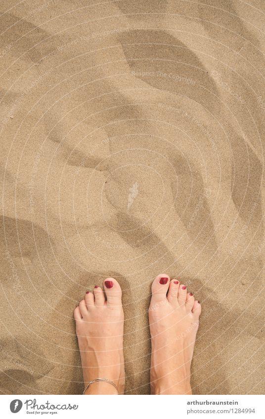 Füße im Sandstrand Mensch Ferien & Urlaub & Reisen Jugendliche Sommer Junge Frau Sonne Erholung Meer Freude Strand Leben feminin Hintergrundbild gehen Tourismus