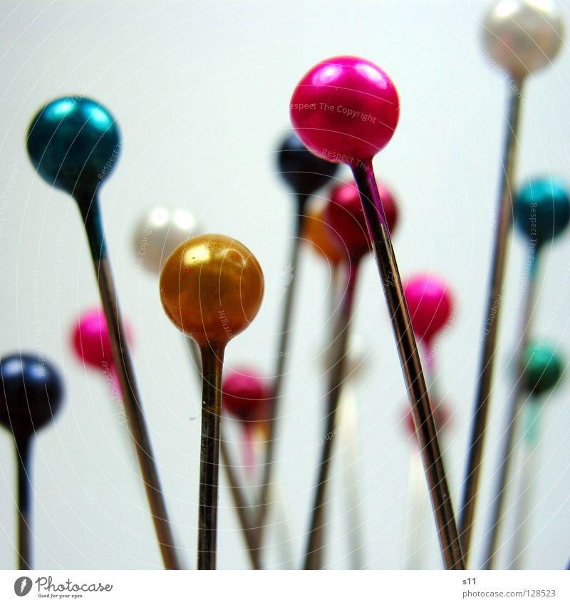 SteckNadeln IV Freizeit & Hobby Dekoration & Verzierung Handwerk Stoff Kugel rund Spitze viele blau gelb grün rosa weiß Farbe Stecknadel Nähen kennzeichnen Naht
