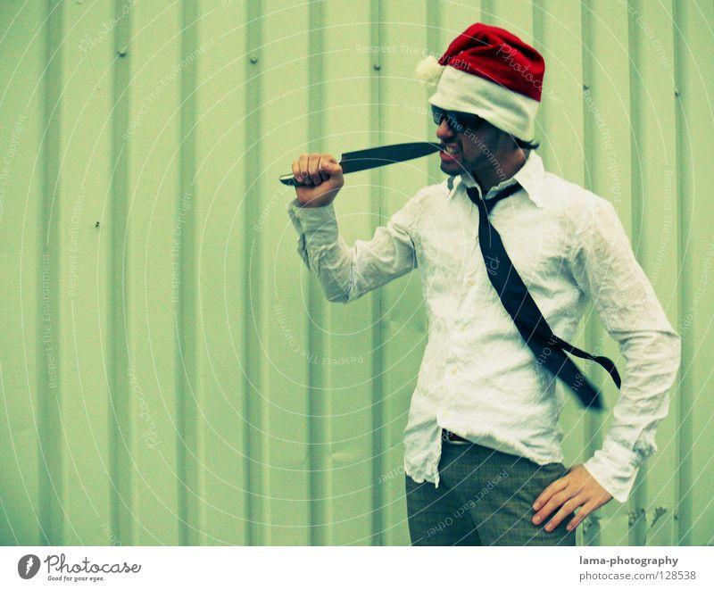 Osterschmaus Weihnachtsmann Weihnachten & Advent Nikolausmütze Mütze Hemd Krawatte Anzug schick Sonnenbrille fletschen Küche Koch Zahnstocher Zahnpflege
