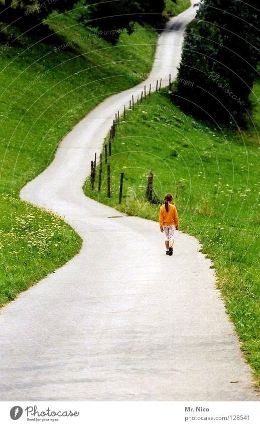 long way home Mädchen wandern gehen biegen Hügel Einsamkeit verloren Wiese Feld Zaun Biegung Baum Ferien & Urlaub & Reisen Erholung Luft Idylle Fußweg Kind