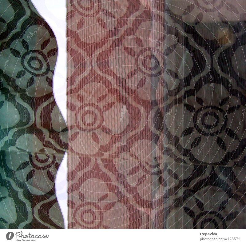 muster weiß Blume grün rot Farbe Fenster Hintergrundbild retro Kitsch Dekoration & Verzierung Tapete Gardine Siebziger Jahre Stoffmuster