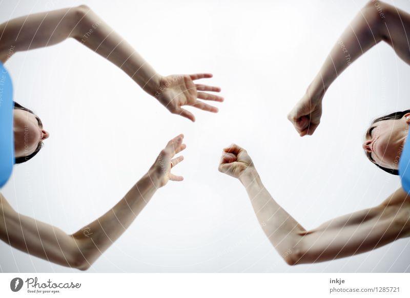 Streitschlichter Lifestyle Mensch feminin Frau Erwachsene Geschwister Paar Leben Gesicht Arme Faust Frauenarm 2 30-45 Jahre kämpfen Konflikt & Streit Gefühle
