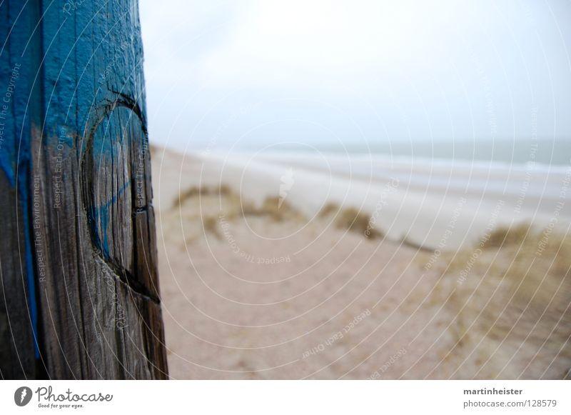 Bessere Hälfte Strand Holz Sand Herz Romantik Stranddüne Trennung