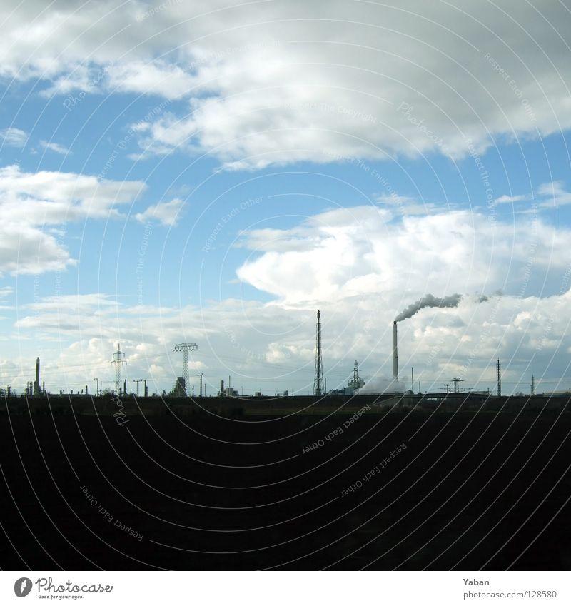 Blühende Landschaften Himmel Wolken Fenster Deutschland Eisenbahn Industrie Elektrizität Kabel Fabrik Rauch Strommast Schornstein Stromkraftwerke Thüringen
