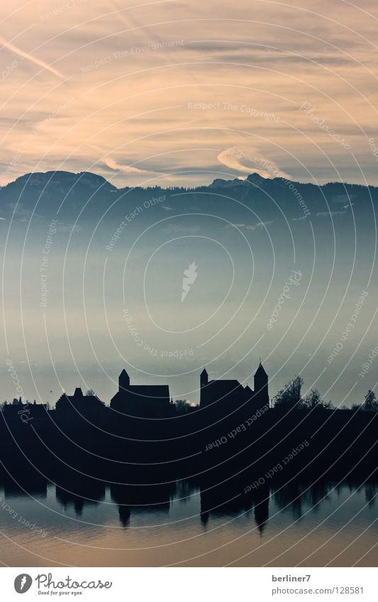 Rapperswil am Morgen Himmel Sonne Stadt Stimmung Nebel Schweiz Alpen Burg oder Schloss Himmelskörper & Weltall Berge u. Gebirge Zürich Zürich See