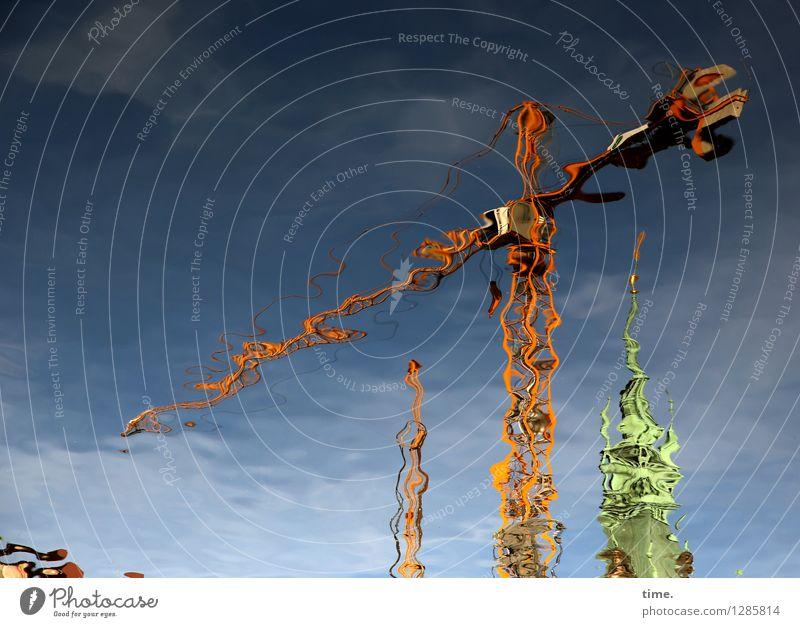 NOlympia! Arbeit & Erwerbstätigkeit Handwerker Arbeitsplatz Baustelle Baumaschine Kran Baukran Technik & Technologie Wasser Himmel Wolken Fleet Hamburg Turm