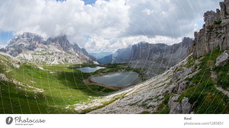 Dolomiten IV Himmel Natur Ferien & Urlaub & Reisen grün Sommer Landschaft Wolken Ferne Berge u. Gebirge Umwelt Wiese Stein Felsen Tourismus Erde wandern