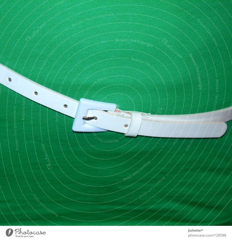 Gürtellegende Frau schön weiß grün elegant Bekleidung T-Shirt Bauch Loch schick Hüfte Schnalle Taille
