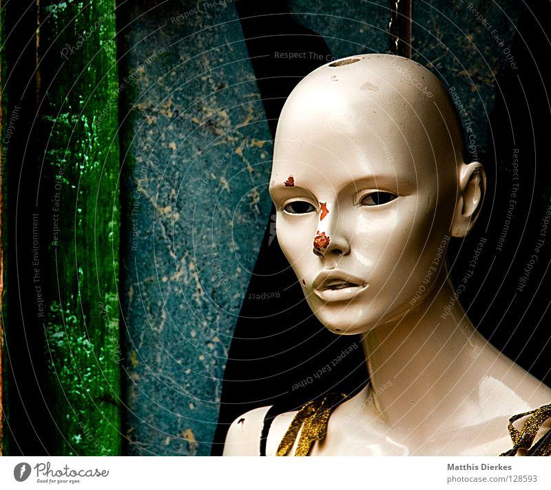 Glamour alt schön Wand Kunst Hintergrundbild elegant glänzend ästhetisch kaputt Bekleidung retro Werbung Statue Puppe Zerstörung