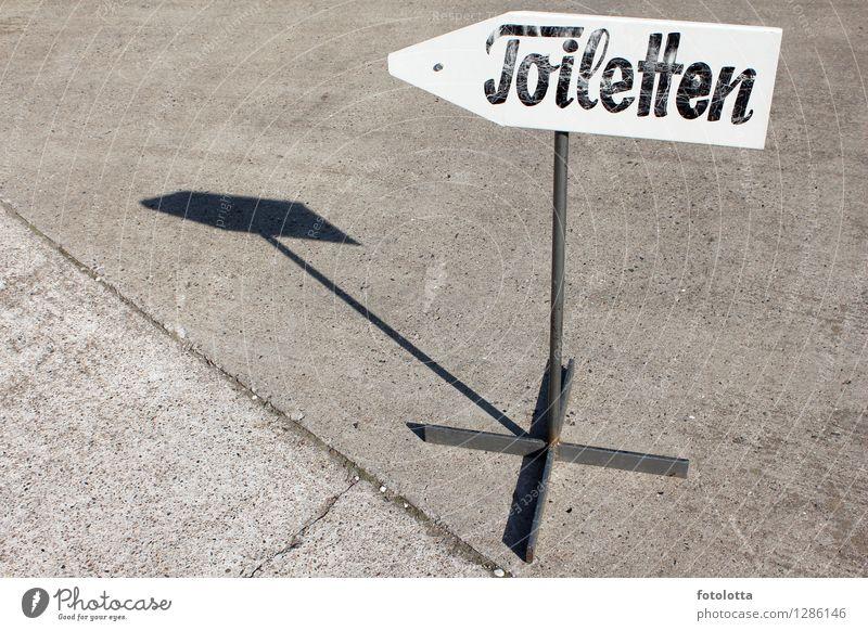 richtungsweisend Hinweisschild Wegweiser Toilette Steinboden Schilder & Markierungen Schriftzeichen Pfeil alt braun grau schwarz weiß Metall Richtung