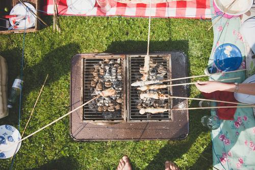 Steckerlgrillen im Garten Mensch Natur Ferien & Urlaub & Reisen Gesunde Ernährung Leben Gras Familie & Verwandtschaft Lifestyle Lebensmittel Freundschaft Park
