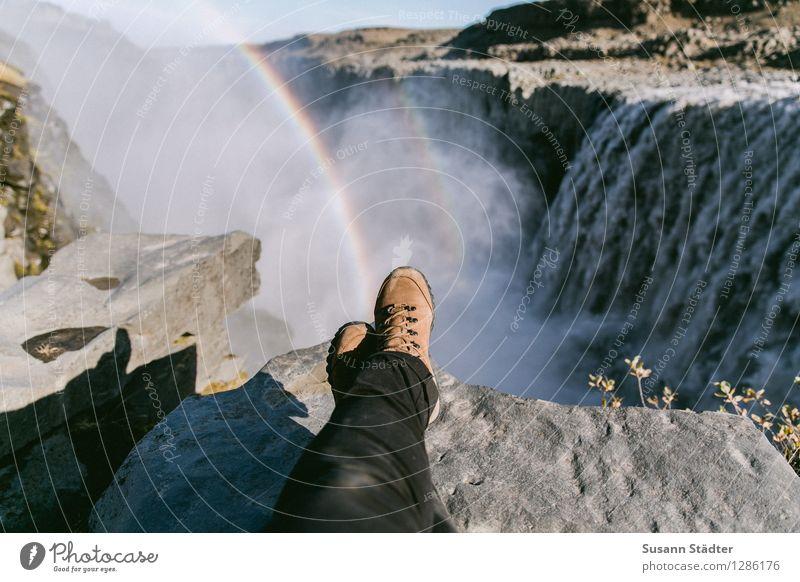 dettifoss. Natur Wasser Sonne Landschaft Berge u. Gebirge Felsen Wellen Aussicht genießen Abenteuer Urelemente Island Schlucht Wasserfall Regenbogen
