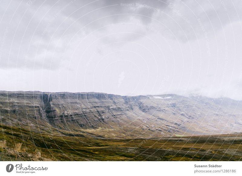 Island Natur Urelemente Erde Wolken Horizont Herbst Felsen Berge u. Gebirge Bucht einzigartig bedrohlich ruhig Landschaft Einsamkeit Gletscher Moos Farbfoto