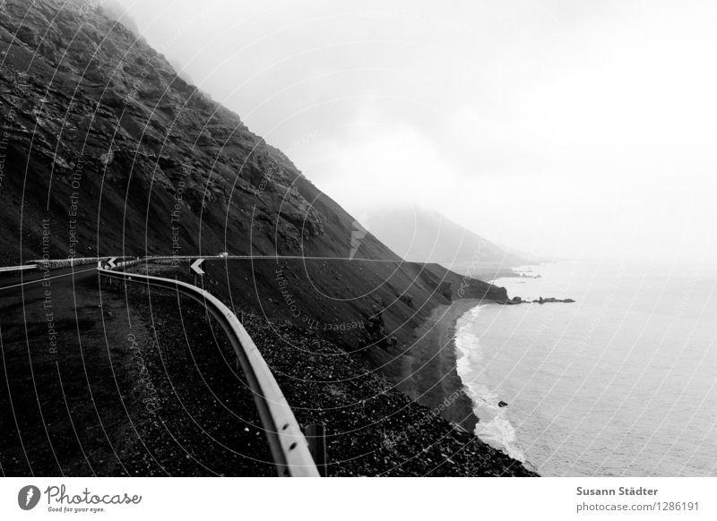 Island Wasser Meer Landschaft dunkel kalt Berge u. Gebirge Herbst Küste Felsen Horizont bedrohlich Hügel fahren Bucht rau