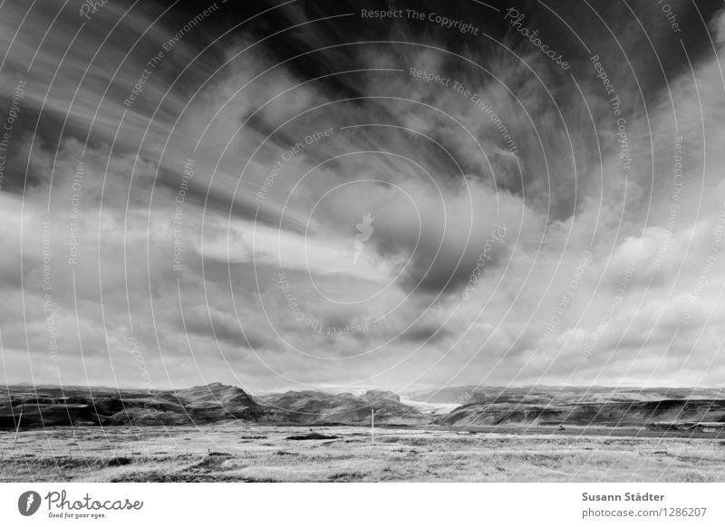 hej iceland Natur Landschaft Himmel Wolken Winter Klimawandel Wetter Sturm Nervosität Island Gletscher Gletscherschmelze Gletschereis Berge u. Gebirge Hochebene