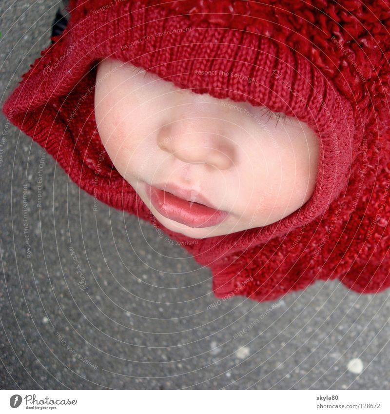 Rotkäppchen Kind Kleinkind Mädchen süß verdeckt rot Kapuze Kapuzenpullover Märchen Jacke Winter kalt Asphalt Beton Gesicht Stupsnase Mund verstecken