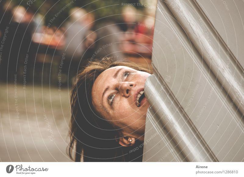 0815 AST | NEEEIIINNN! Mensch feminin Frau Erwachsene Leben Kopf Haare & Frisuren Gesicht beobachten schreien bedrohlich gruselig braun Entsetzen Todesangst