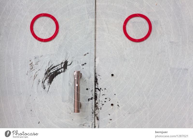 Tür Metall Zeichen Gesicht Gesichtsausdruck rot weiß Türgriff Kreis Strukturen & Formen Smiley Geometrie Abstraktion Linie Menschenleer Stahl Kringel Farbe