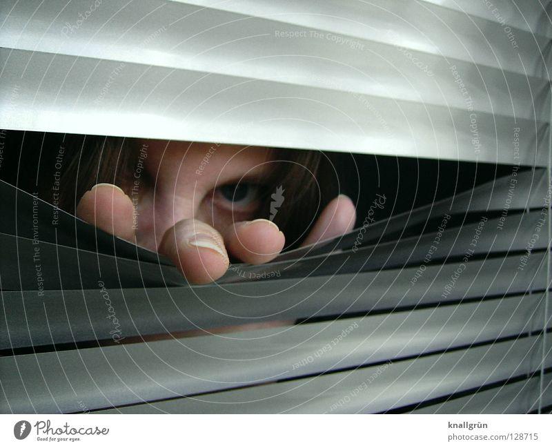 Ich sehe was, was du nicht siehst... Jalousie Aluminium dunkel Hand Finger Fingernagel Blick Frau Lamelle Metall hell silber Gesicht Haare & Frisuren