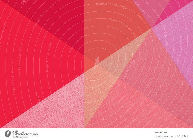 abstrakter Papierhintergrund Stil Design Dekoration & Verzierung Tapete Kunst Verpackung Paket hell modern retro rosa rot weiß Farbe Dreieck Geometrie Postkarte