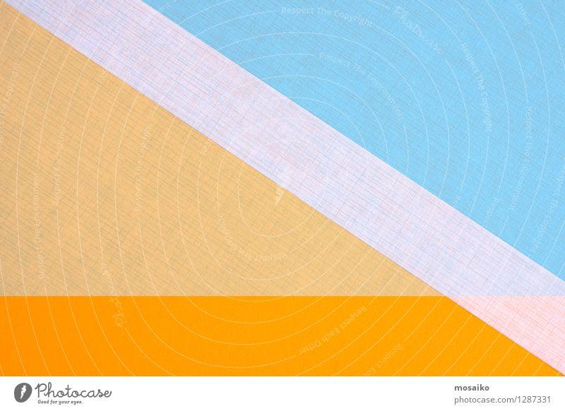 abstrakte Papiergestaltung Büroarbeit Kunst Zettel Verpackung Linie Streifen einfach blau orange weiß Idee Inspiration graphisch Geometrie elegant