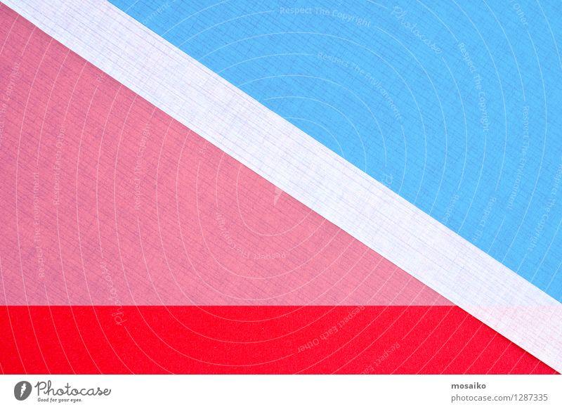 Papier-Design Lifestyle elegant Stil Zettel blau rosa rot weiß Idee Inspiration Hintergrundbild Dreieck Werbung ästhetisch Gleichgewicht Streifen Sport