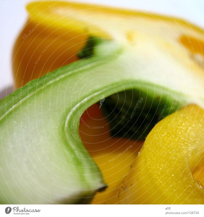 PaprikaDetail Peperoni Gesundheit Vitamin Hälfte Lebensmittel kochen & garen Zutaten grün gelb weiß Pflanze Ernährung Gesunde Ernährung Stengel Quadrat quer