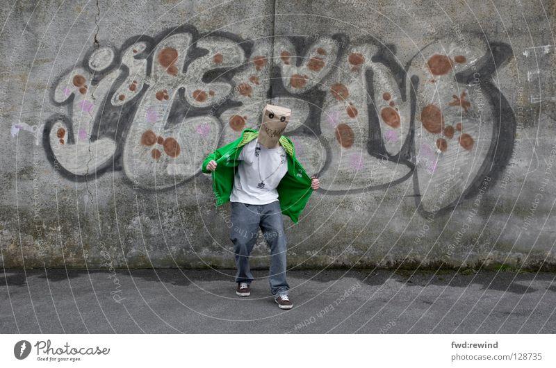 grrrrrr! Stadt grün Freude Graffiti Kraft Kraft Körperhaltung Maske Aggression Täuschung Monster Aufschrift Angeben Wandmalereien Phantom