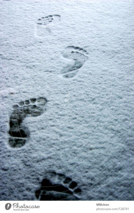 Homo Sapiens Fußspur Barfuß kalt frieren entkleiden vorwärts marschieren wandern verfolgen Winter weiß schießen Eindruck Fährte unterwegs Armut Zehen 5 10 15 20