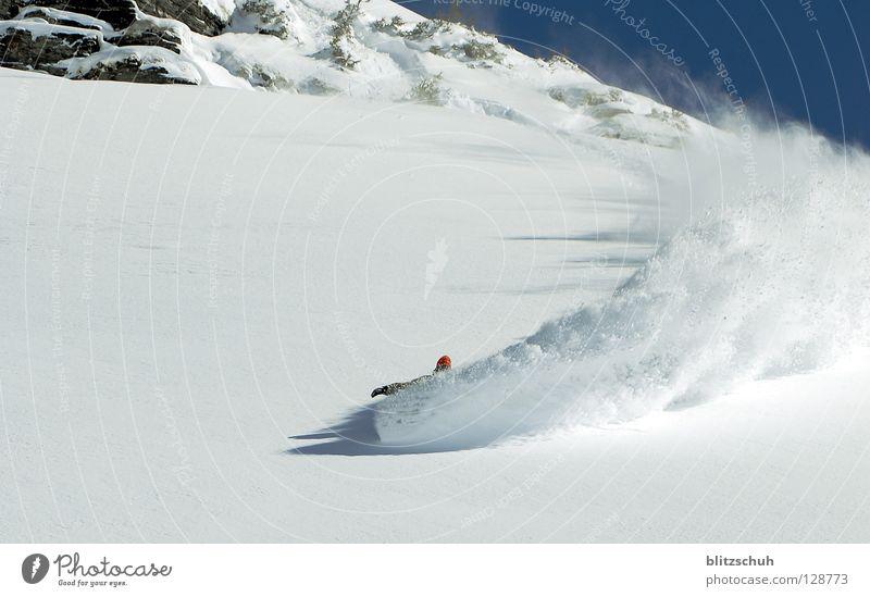 spray Winter Berge u. Gebirge Schnee Sport Spielen Schweiz Kurve abwärts Berghang Schwung Freestyle Spray Schneedecke Snowboarding schwungvoll Wintersport