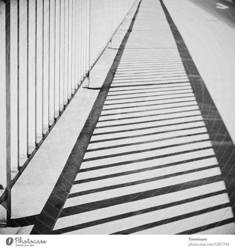 Gruß aus HD nach D. Straße Geländer Bürgersteig Metall Linie ästhetisch einfach grau schwarz weiß Gefühle deutlich Asphalt Beton Schilder & Markierungen
