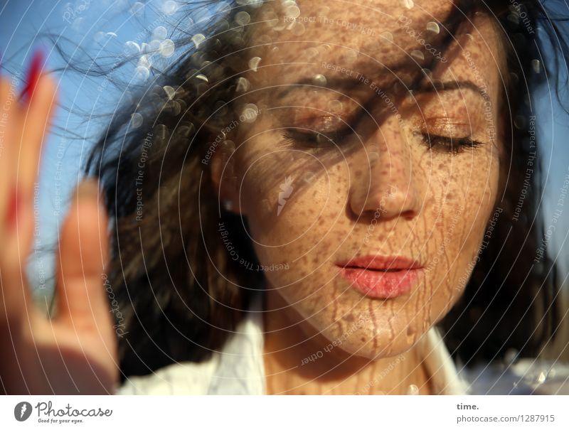 Nastya feminin Frau Erwachsene 1 Mensch Wassertropfen Hemd schwarzhaarig langhaarig schön Traurigkeit Trauer Liebeskummer Schmerz Sehnsucht Heimweh Enttäuschung