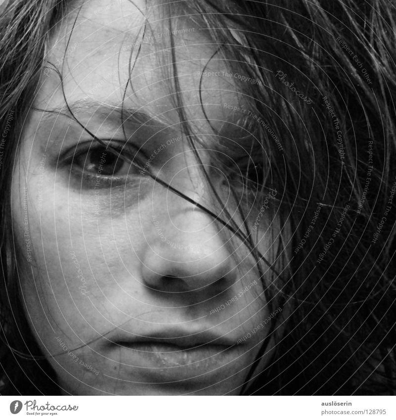Durcheinander* durcheinander Haarsträhne Makroaufnahme Nahaufnahme Gesicht Gesichtsausdruck Selbstbildnis Haare & Frisuren Auge Nase Mund Face