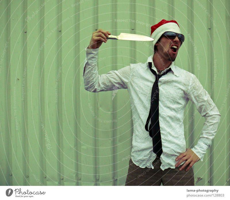 Der mit der roten Mütze Mann Weihnachten & Advent Freude Denken verrückt Coolness Zähne Weihnachtsmann Brille Hemd Hut trashig Anzug Sonnenbrille lässig