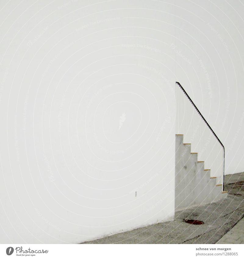 """Weißanteil elegant Stil Design Stadt Menschenleer Haus Einfamilienhaus Bauwerk Gebäude Architektur Treppe Fassade Tür Stein Beton Blick schwarz weiß """"Leere"""