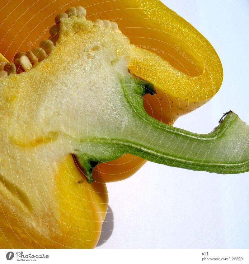 PaprikaDetail II Natur grün weiß Pflanze gelb Linie Gesundheit Lebensmittel Ernährung Gesunde Ernährung Kochen & Garen & Backen Gemüse Appetit & Hunger Stengel