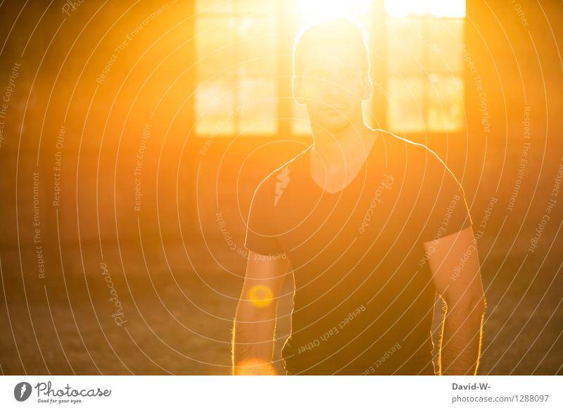 Im Licht der Sonne Mensch Jugendliche Mann Sommer Junger Mann Erholung ruhig Fenster Erwachsene Wärme Leben Frühling Gesundheit hell maskulin