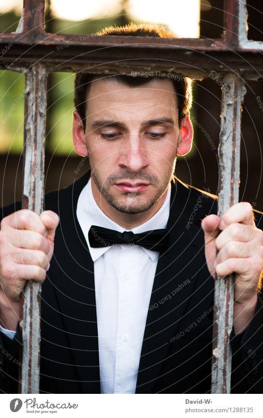 gefangen Feste & Feiern Hochzeit Business Karriere Feierabend Mensch maskulin Junger Mann Jugendliche Erwachsene Leben 1 Anzug Dreitagebart träumen Traurigkeit