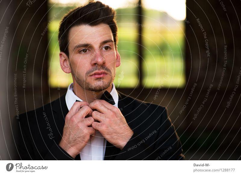 Gentleman Prüfung & Examen Business Karriere Erfolg Sitzung sprechen Mensch maskulin Junger Mann Jugendliche Erwachsene Leben 1 Mode Bekleidung Hemd Anzug